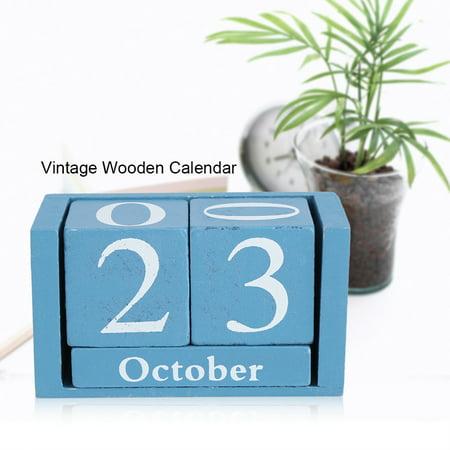 EECOO Vintage Wooden Calendar Desktop Wood Block Month Date Display Home Office Decoration Wooden Calendar Wood Block Calendar - Calendar Blocks
