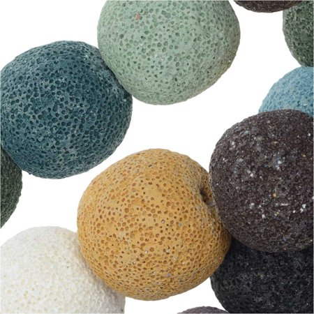 - Dyed Natural Lava Gemstone Beads, Round 20mm, 1 Strand, Mixed Colors