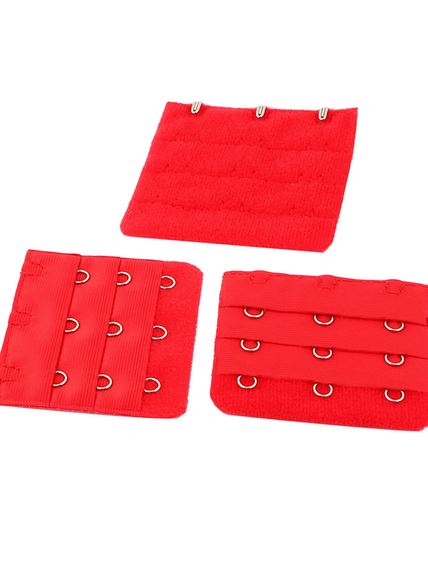 Lady 3 x 3 Hooks Brassiere Bra Underwear Extension Strap Extender Red 3pcs