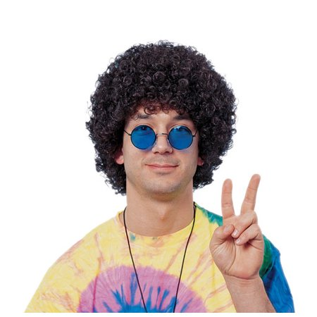 Economy Afro Costume Wig - Color - Afro Moustache