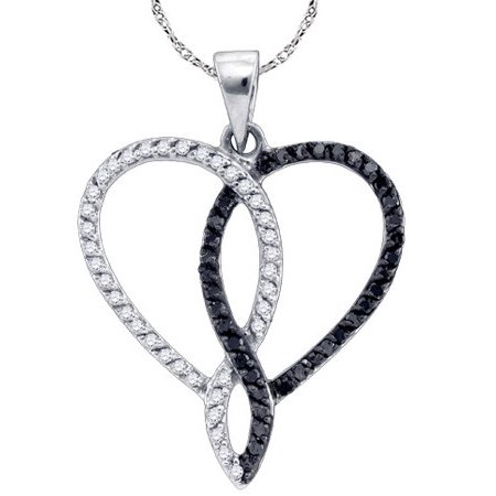 10K White Gold 0.36ctw Elegant Pave Diamond Combined Heart