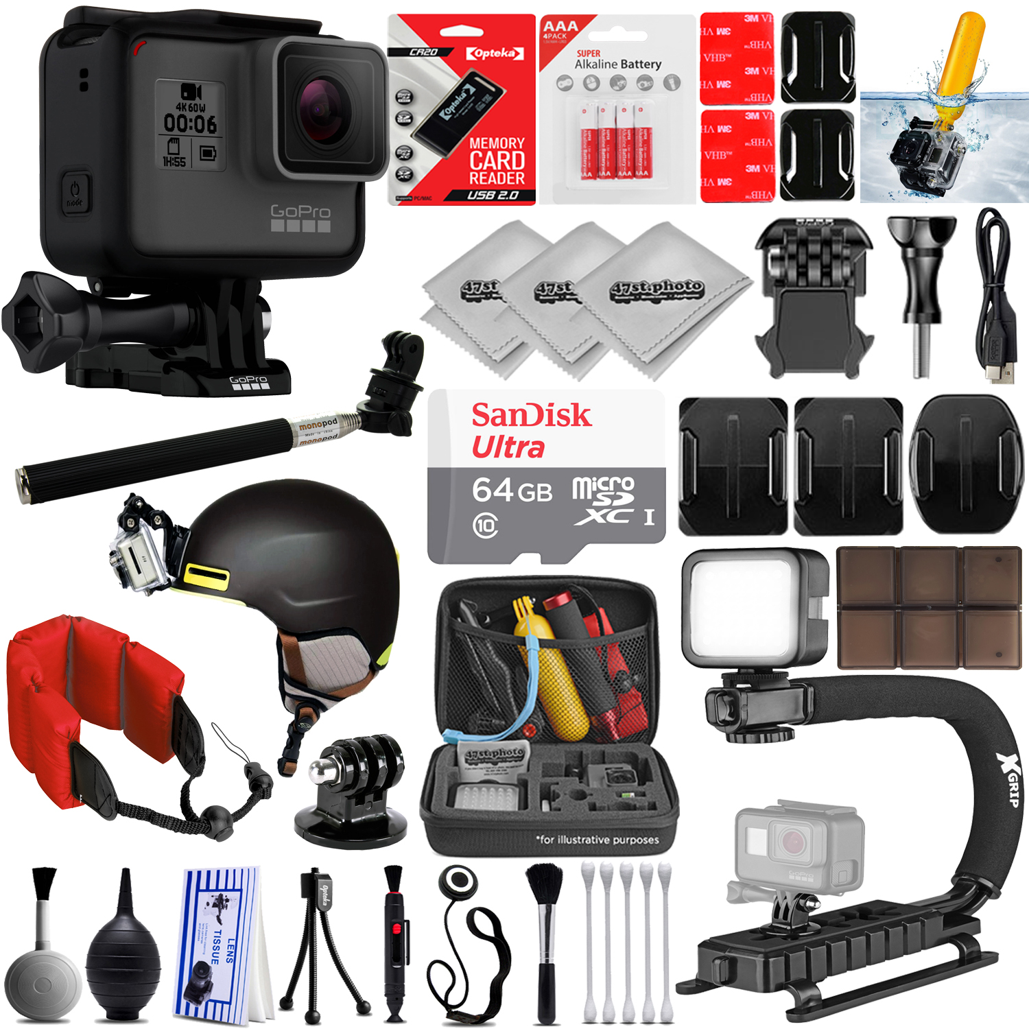 GoPro HERO5 Black 4K 12MP Digital Camcorder w/ 64GB - 30PC Sports Action Bundle (64GB Micro SD, Card Reader, 4PC Curved Adhesive Mount, High Power LED Light, X-GRIP Stabilizing Handle & More)