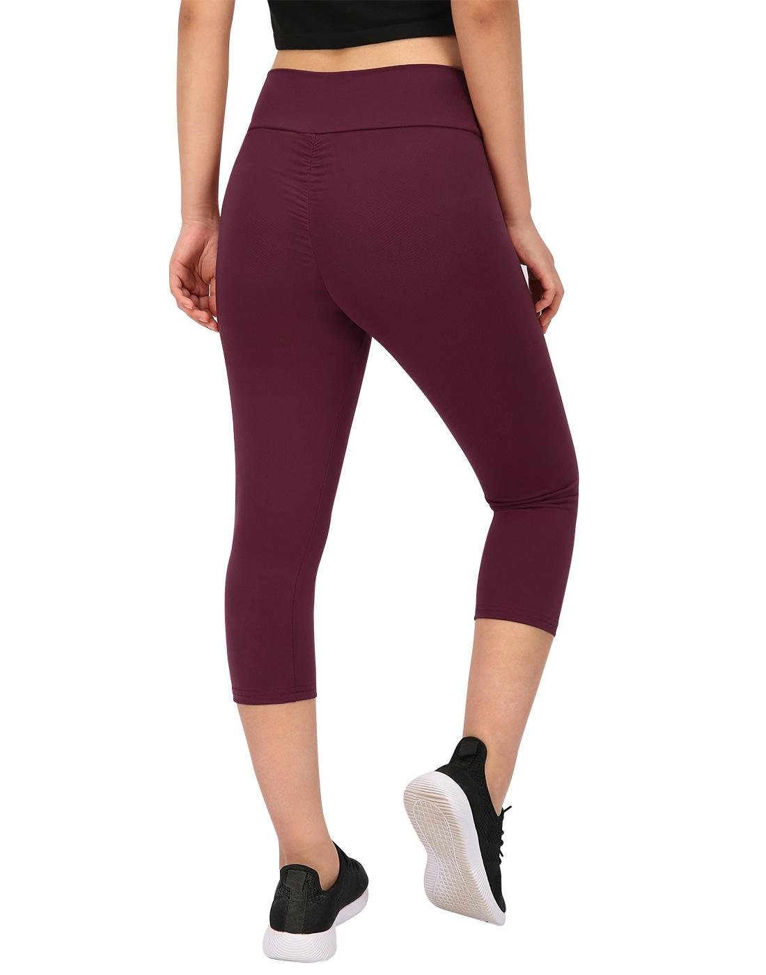HDE Womens Scrunch Butt Lifting Capri Leggings High Waist Workout Gym Yoga Pants (Maroon, Medium)