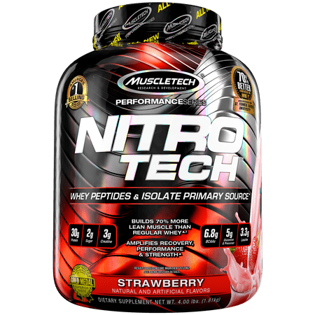 NitroTech Protein Powder Plus Muscle Builder, 100% Whey Protein with Whey Isolate, Strawberry, 40 Servings (4lbs)