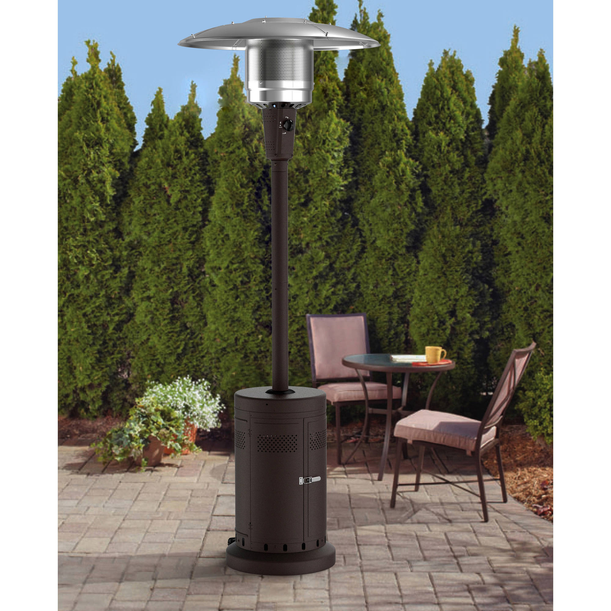 Charmant Mainstays Large Outdoor Patio Heater, Powder Coat Brown