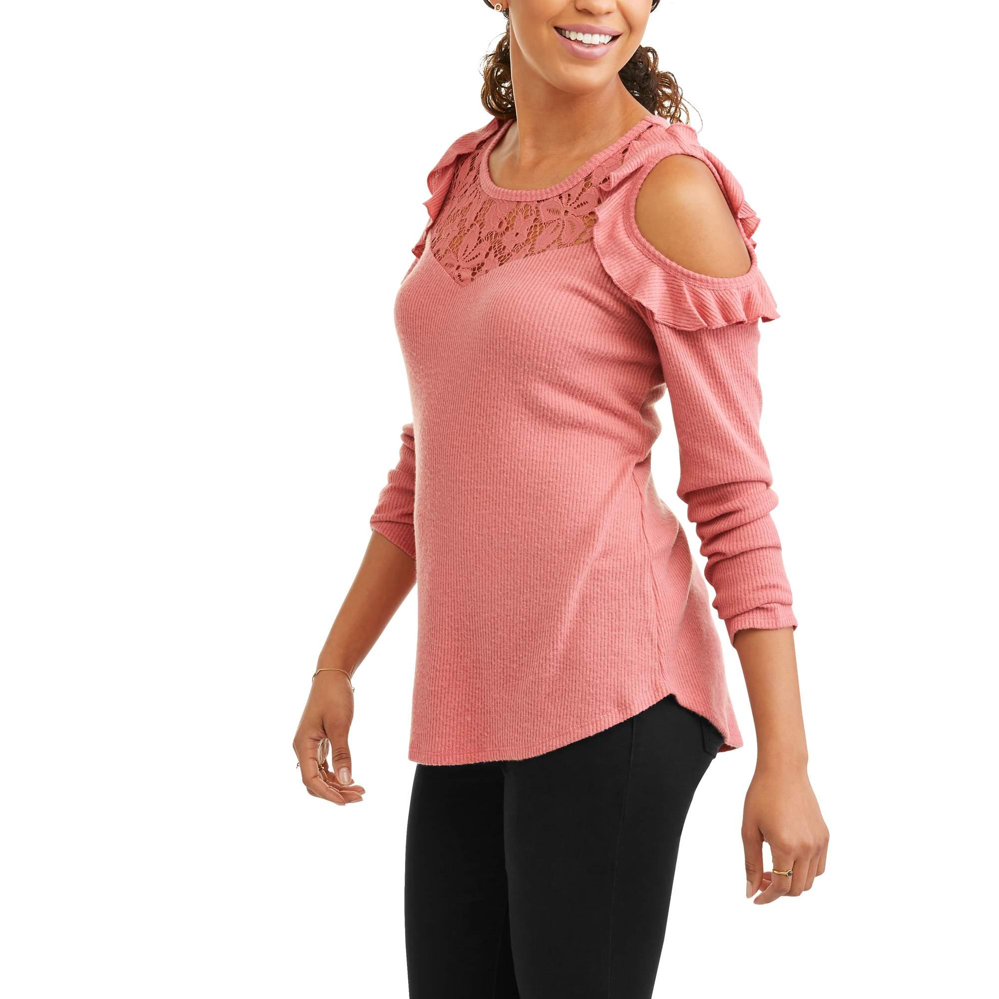 Self Esteem Juniors' Rib Knit Cold Shoulder Ruffle Sweater With Lace Yoke