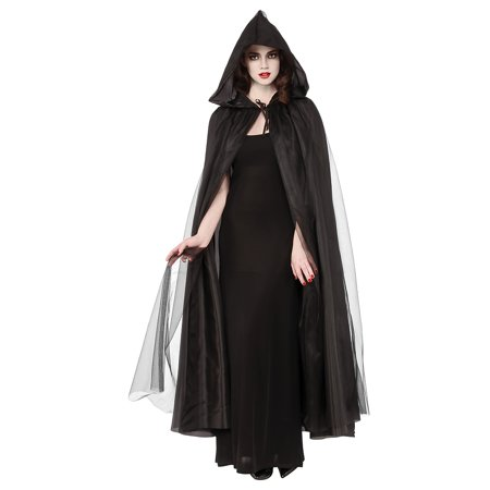 Full Length Hooded Cape Adult Costume Accessory Black - Standard - Black Cape Hood