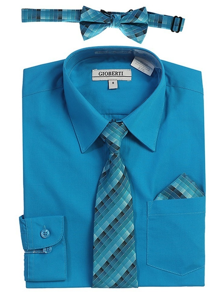 Gioberti Big Boys Turquoise Tie Bow Tie Pocket Dress Shirt 4 Pc Set
