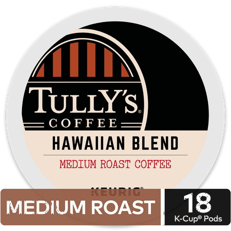 Tully's Coffee Hawaiian Blend, Keurig K-Cup Pod, Medium Roast, 18 Ct