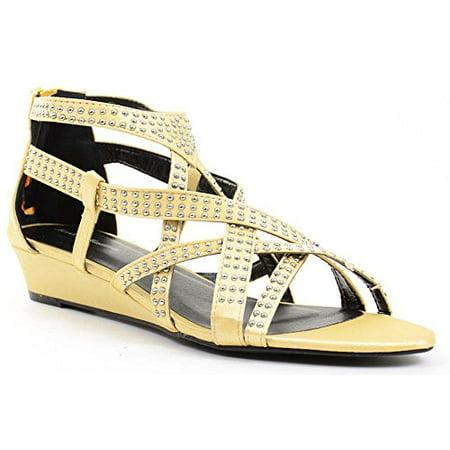 Gold Satin Bling Strappy Gladiator Evening Wedge Sandals - 6 Satin Wedge Sandal
