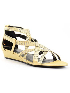 a2ac2f87a58 Product Image Gold Satin Bling Strappy Gladiator Evening Wedge Sandals - 6. Fourever  Funky