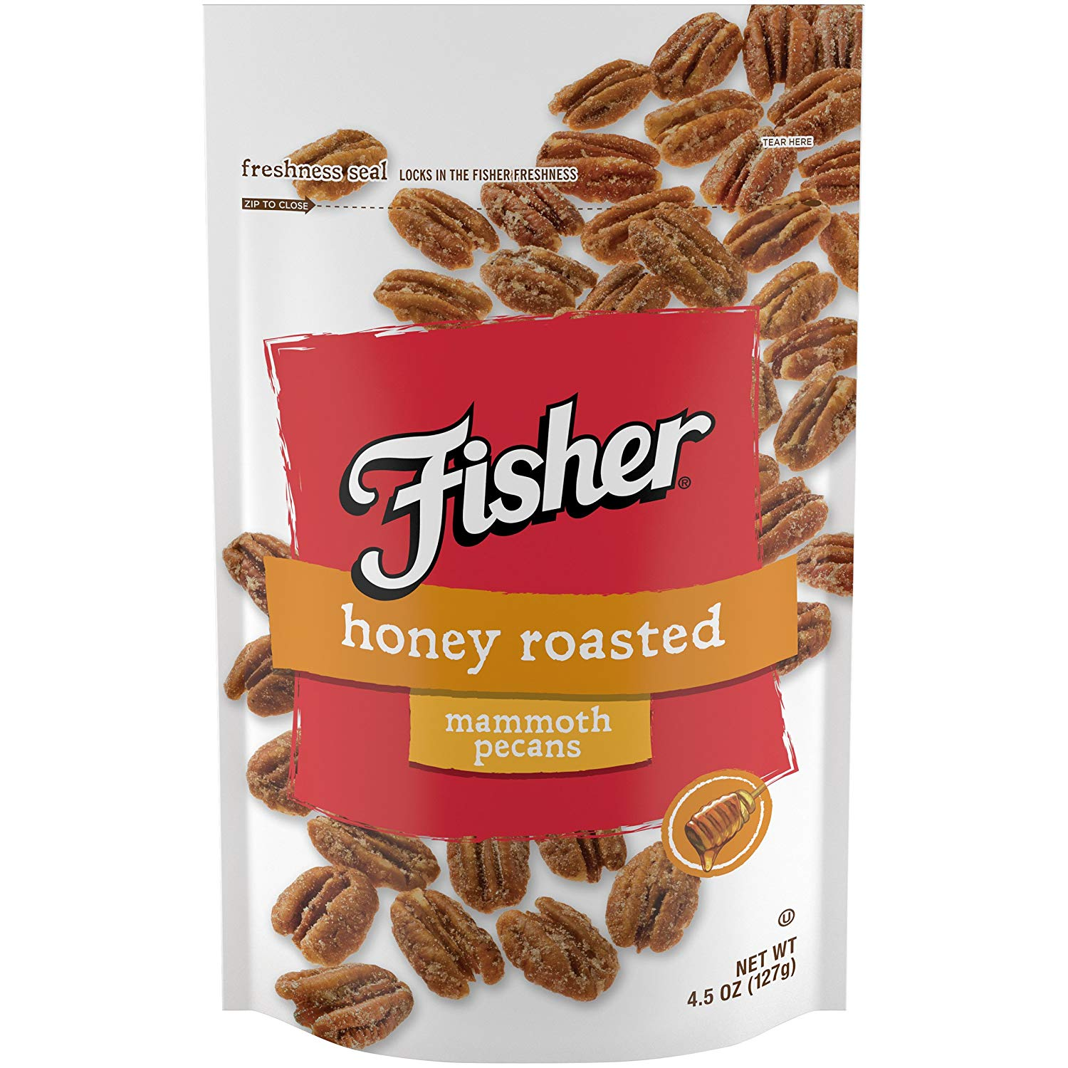 Fisher Snack Honey Roasted Pecans, Stand-Up Bag, 4.5 oz