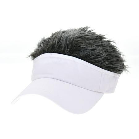 b3a8b604 WITHMOONS Flair Hair Sun Visor Cap with Fake Hair Wig Novelty KR1588  (White) - Walmart.com