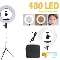 WALFRONT LED Ring Lights & 2m Light Stands Professional Studio Photography Dual Color Temperature LED Ring Lamp Kit