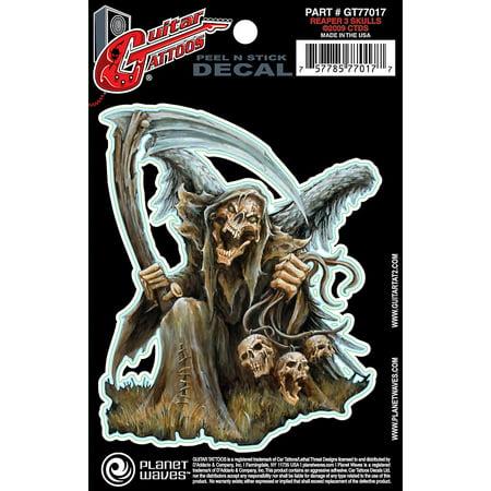 D'Addario Planet Waves Guitar Tattoo Decal Reaper 3 Skulls