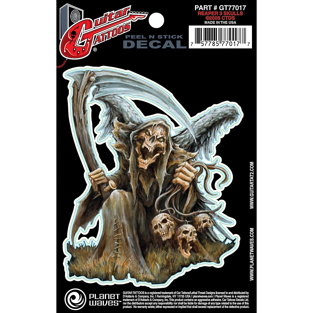 D'Addario Planet Waves Guitar Tattoo Decal Reaper 3 Skulls