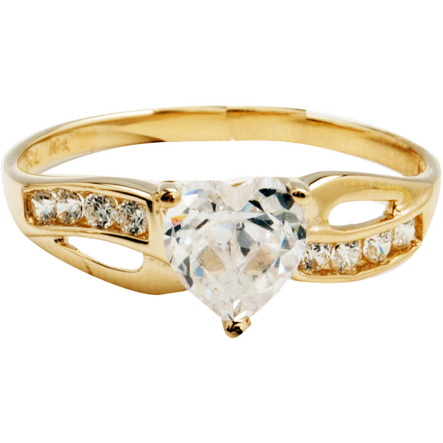 Believe by Brilliance CZ 10kt Yellow Gold Heart Ring