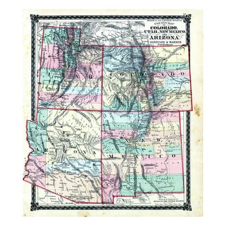 1876, County Map of Colorado, Utah, New Mexico and Arizona, United States Print Wall