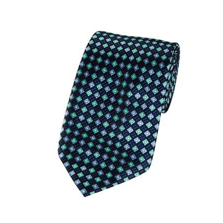 Navy, Aqua And Steel Blue Diamond X-Long Woven Necktie