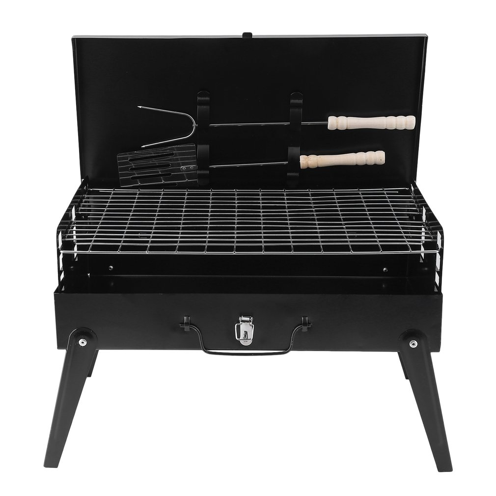 Portable Folding Charcoal BBQ Barbecue Grill Roasting Garden Party Outdoor Camping Stove With Spatula Grill Fork