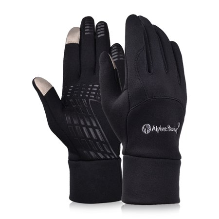 Outdoor Touch Screen Gloves for Driving Riding, Warmness Fleece Gloves Unisex Style in Black
