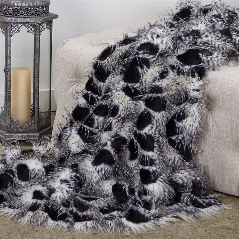 "Plutus Porcupine Black and White Faux Fur Luxury Throw 60""W x 36""L"