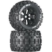 Duratrax Six Pack MT 3.8 Mounted 1/2 Offset Tyre (Set of 2), Black Multi-Colored