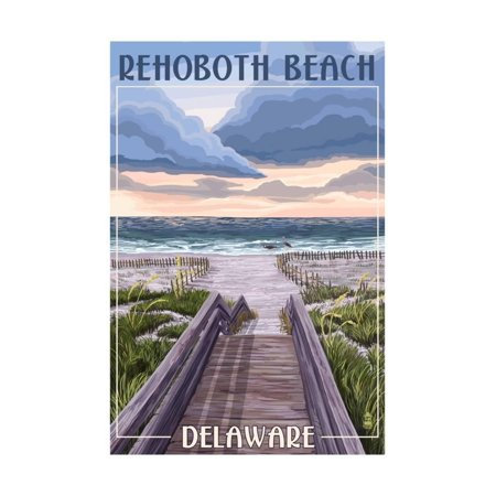 Rehoboth Beach, Delaware - Beach Boardwalk Scene Print Wall Art By Lantern - Emoji Beach Scene