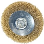 8737306,WIRE WHEEL BRUSHES,STEEL-CRIMPED WIRE,MOUNTED BRASS COATED,,Dia In=2,Wire Type=Coarse