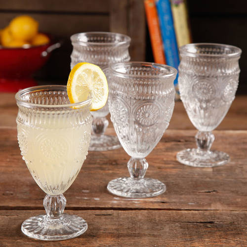 The Pioneer Woman Adeline Embossed 12-Ounce Footed Glass Goblets, Set of 4