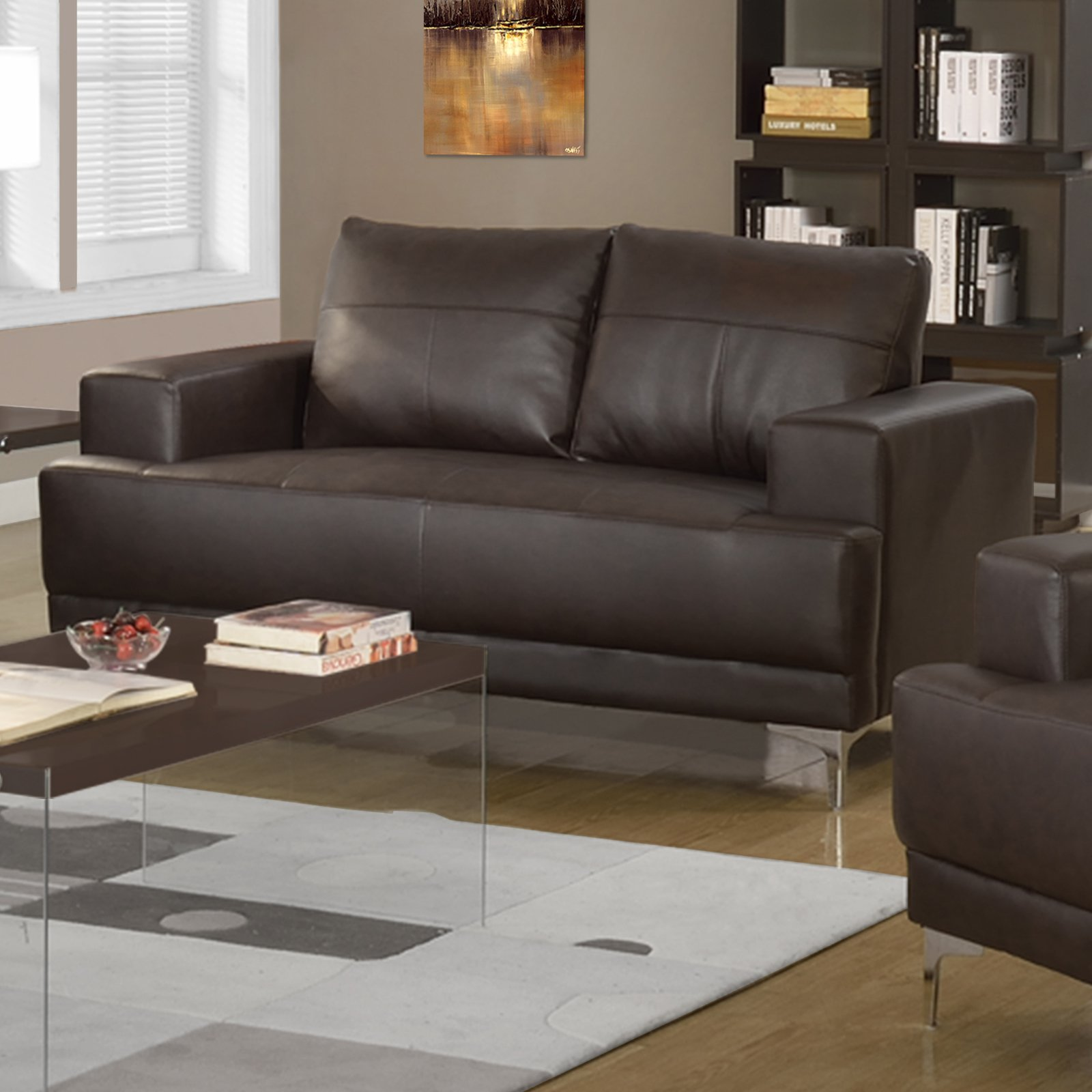 Monarch Specialties Emory Leather Loveseat