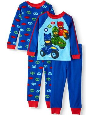 PJ Masks Toddler Boy Long Sleeve Cotton Snug Fit Pajamas, 4Pc Set