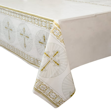 Radiant Cross Religious Plastic Party Tablecloth, 84 x 54in (Party Table Cloths)