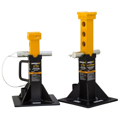 6 Ton Ratcheting Jack Stands - Omega 32225b black heavy duty jack stand - 22 ton capacity