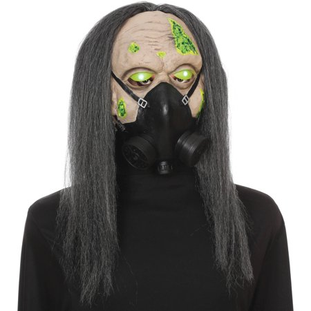 Light-Up Eyes Toxic Zombie Mask With Faux Gas Mask Halloween Accessory (Gas Mask Zombie)