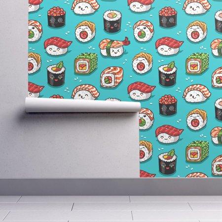 Peel-and-Stick Removable Wallpaper Kawaii Kawaii Sushi Food Japanese Aqua - Wallpaper Halloween Kawaii