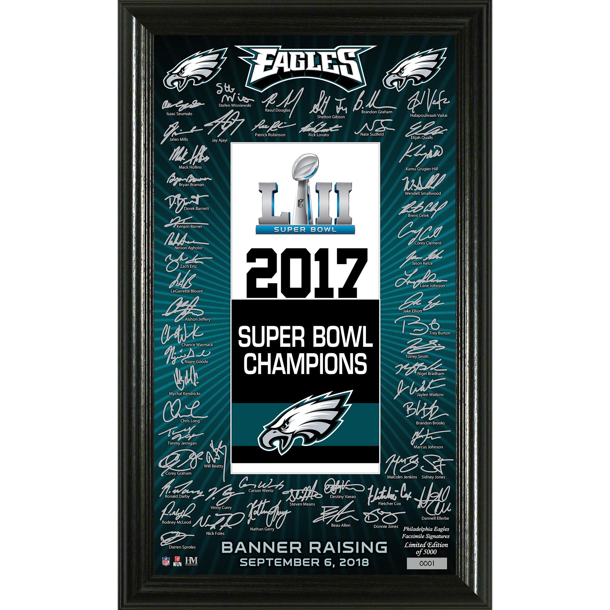 "Philadelphia Eagles Highland Mint Super Bowl LII Champions Banner Raising Ceremony 12"" x 20"" Signature Photo - No Size"