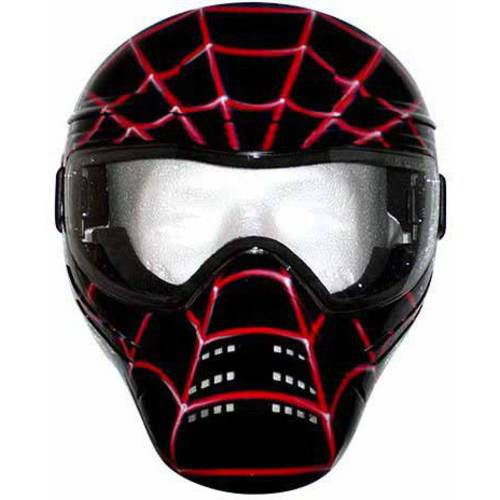 Save Phace Tagged Series Spidey Black-Tagged Mask with Custom Handpainted Graphic, Black Mask with Red Spider Web Graphics
