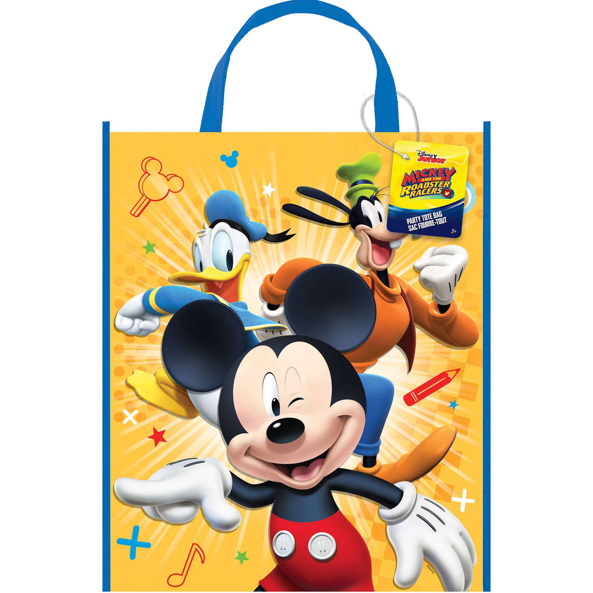 (3 pack) Large Plastic Mickey Mouse Goodie Bag, 13 x 11 in