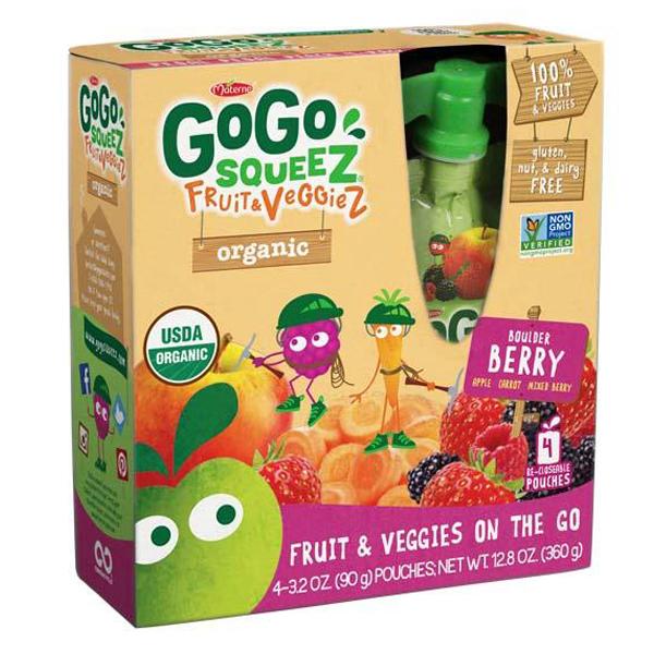 GoGo Squeez Boulder Berry Fruit & Veggiez 3.2 oz - 48 Pou...