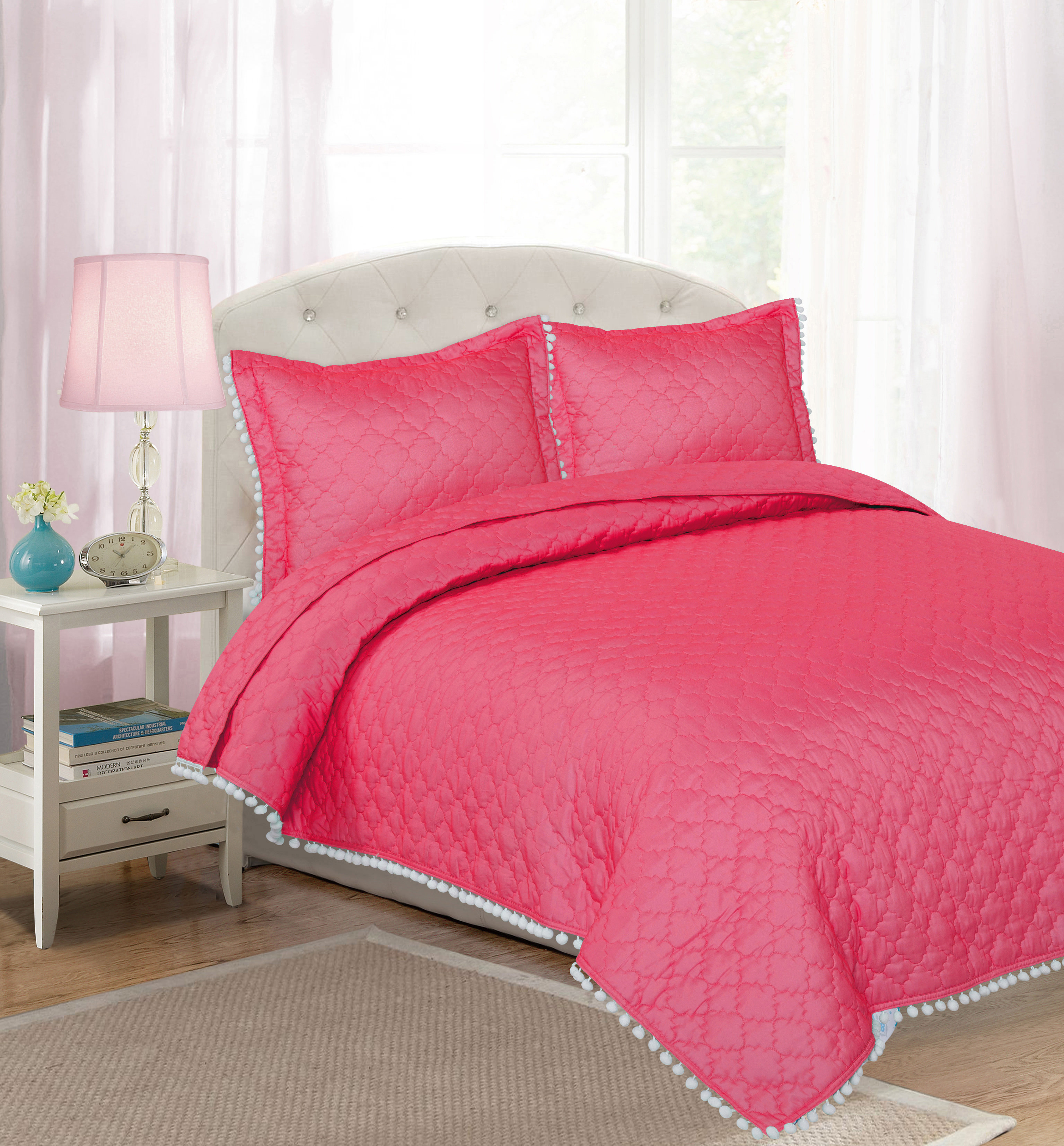 Your Zone Solid Color Quilt Set with Pom Pom Detail