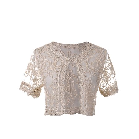 - Womens Summer Beige Cropped Bead Crochet Braid Short Sleeve Shrug Cardigan Tops