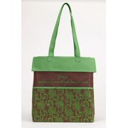 Tote-Canvas-Grace-Green/Brown (14  X 14 )