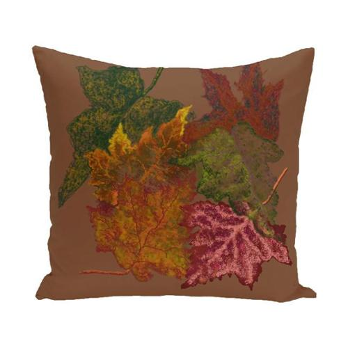 E by Design 18 x 18-inch Autumn Leaves Floral Print Pillow