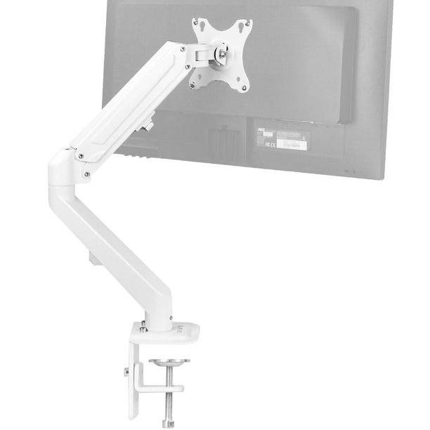 "VIVO White Articulating Single Pneumatic Spring Arm Clamp-on Desk Mount Stand | Fits 1 Monitor 17"" to 27"" (STAND-V101OW)"
