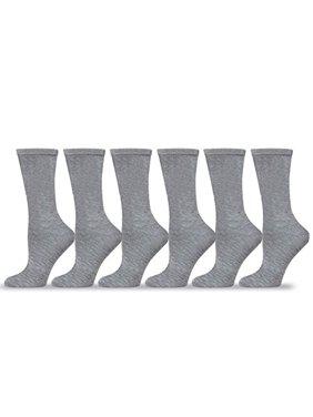 TeeHee Women's Ladies Value 6-Pack Dress Crew Socks (Thin Stripe)