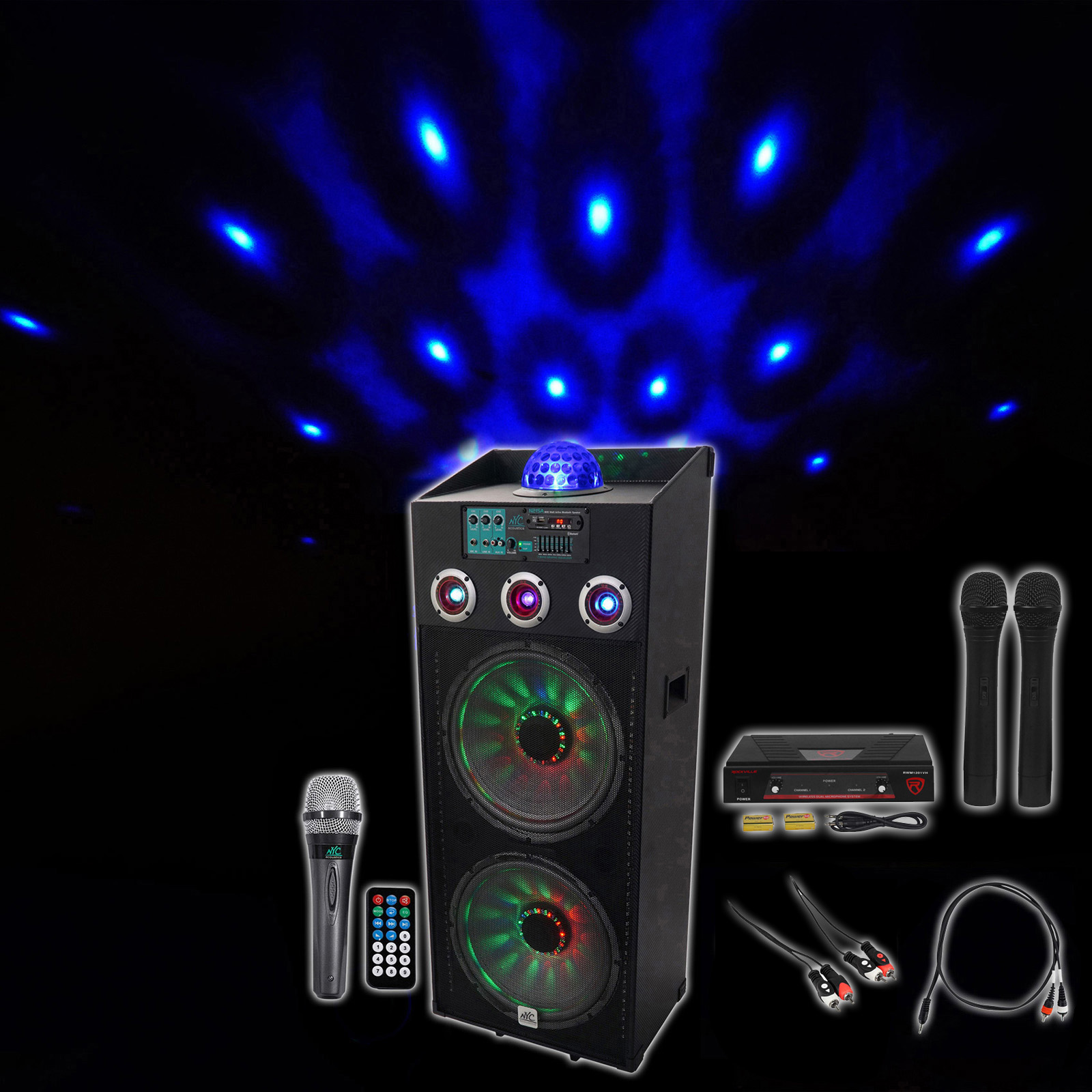 "NYC Acoustics Dual 15"" Bluetooth Karaoke System+2) Mics 4 ipad iphone Android TV by NYC ACOUSTICS"