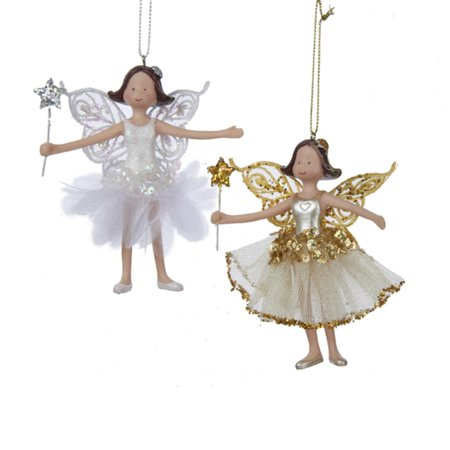 Fairy Christmas Ornaments.Club Pack Of 12 Gold And White Glitter Fairy Christmas Ornaments 4