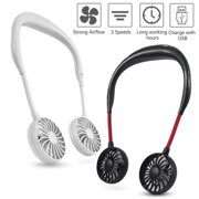 USB Rechargeable Wearable Portable Hand Free Neckband Fan Double Fans 3 Speed Adjustable For Home Office Traveling