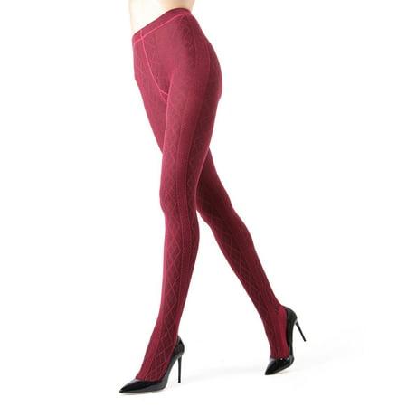 Thick Sweater Tights (Memoi Juneau Diamonds Sweater Tights | Women's Hosiery - Pantyhose Medium/Large / Rhubarb MO)